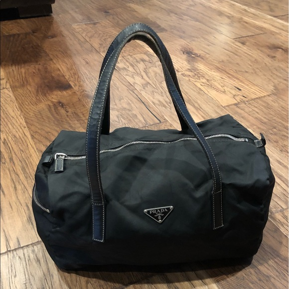 7adf1ca66c Authentic PRADA Tessuto Nylon Bowler Bag - Black. M 5a57d4003800c5430302da1a